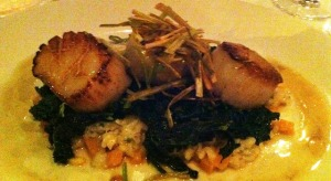 Scallops with kale and butternut squash.