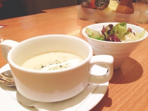 Cauliflower and leek soup and salad starter.