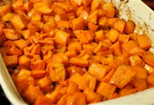 My really delicious maple roasted sweet potatoes.  I liked them cooked this way a lot.