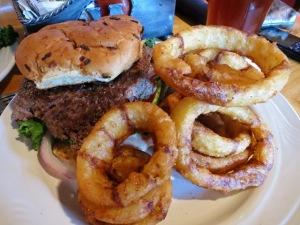 Great buffalo burger and onion rings at the Silver Dollar Bar in Jackson.