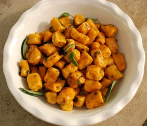 Yum sweet potato gnocchi with brown butter sage sauce.  We saved half of the dough in the freezer.