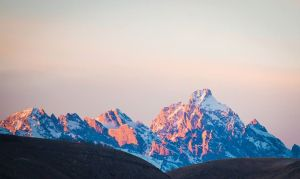 View of Grand Teton, sunset, from our living room.