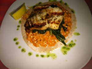 My favorite seabass on kale and a bed of creamy and spicy farro.