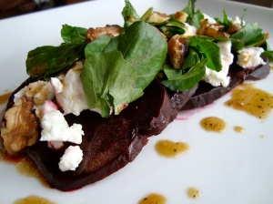 Roasted Beet Salad, Yellow Beet Ice Cream, Winter Truffles, Balsamic, Goat Cheese, Spiced Pecans (I could eat beets for days)