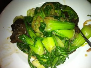Wokked bok choy with woodear mushrooms