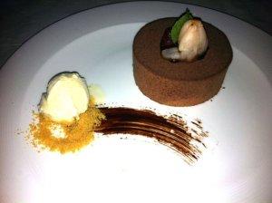 Chocolate Mousse Cake, Kaffir Lime Crème Anglaise, Pomegranate, Thai Basil