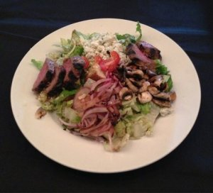 My black and bleu steak salad.