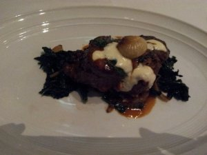 Red Wine Braised Painted Hills Beef Short Ribs with Tuscan Kale, Hazelnut Risotto, and Marjoram Gremalota