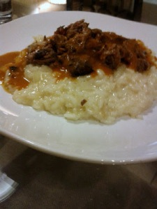 Coffee braised short ribs on carrot risotto from Lecosho