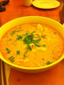 Thai coconut curry noodle soup at home on Tuesday.
