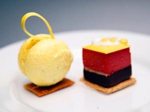 Meyer Lemon Cake, Madagascar Vanilla Mousse, Blood Orange, Passion Fruit Caramel, Crème Fraiche Ice Cream