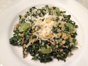 Shaved Kale Salad with Black Currants, Manchego Cheese, Hazelnuts and Merguez Sausage