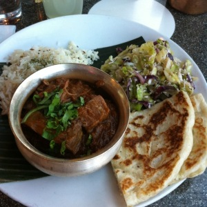 Bryan's also delicious dish of lamb and pepper curry, salad, rice, and more of that fresh naan.  Soo freaking good!