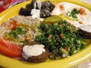 So much goodness:  hummus, baba, tabbouli, falafel, fried cauliflower.