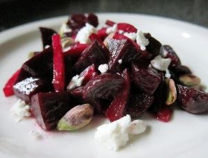 Marinated Beets and Mt. Townsend Seastack Cheese, Pistachio Butter, Pickled Shallot