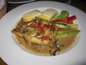 We split the halibut special with a mushroom, roasted red pepper and caper sauce...