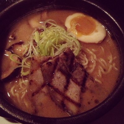 Exceptional garlic miso ramen with a smoked egg, pork belly and shitake mushrooms.