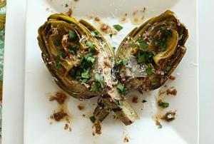 Steamed artichokes.