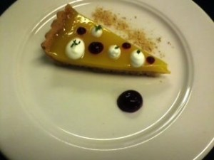 Traditional English Lemon Tart, Elderflower Cream, Blackcurrant Gel, Gingerbread Crumble, Lemon Thyme