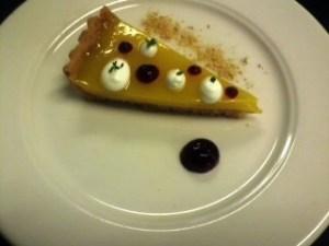 Traditional English Lemon Tart, Elderflower Cream, Blackcurrant Gel, Gingerbread Crumble, Lemon Thyme