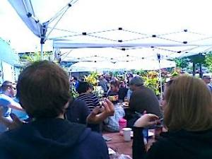 A good crowd and good sun at Fremont Brewing Company.