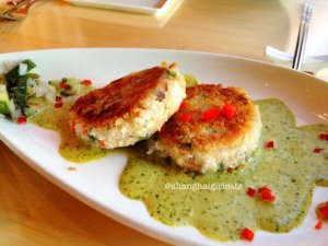 Great crabcakes with that cilantro sauce.