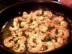 Cooking the scampi.