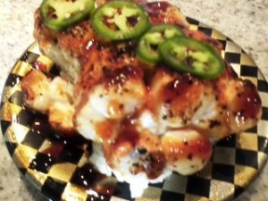 A really amazing Dynamite Roll with creamy scallop and real crab.