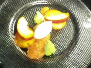 Roasted, Pickled and Fresh Peaches with Tarragon Cream and Honey-Vanilla Chantilly