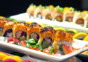 Delicious sushi outside on their patio!