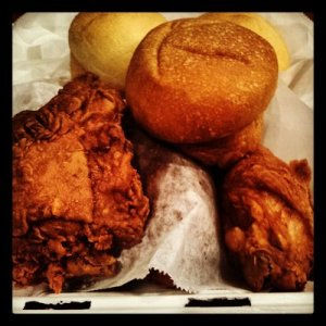Ezell's spicy fried chicken and rolls.  Great chicken!