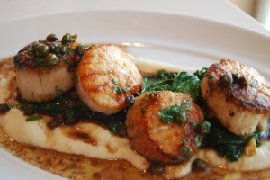 So so so so good.  Scallops, parsnip puree, spinach, oyster mushrooms, and BUTTER!