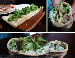 Not my photo but a cross section of the gloriousness inside this stuffed pizza.  Sausage, mozzarella, ricotta, rapini, cherry tomatoes, arugula, and parmesan.
