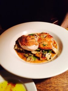 Awesome roasted chicken with asparagus, green garlic, and gnocchi