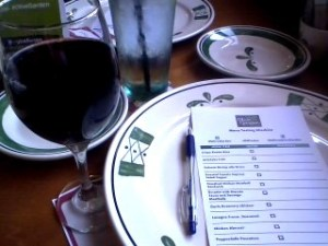 Red wine and the night's menu.