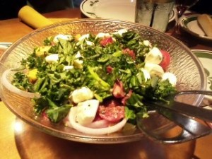 Huge salad bowl with caprese topping