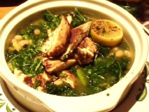 Chicken abruzzi with kale and cannelini beans