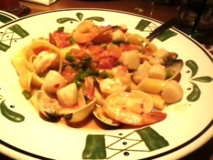 Seafood pappardalle