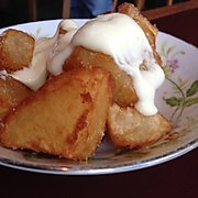 Fried potatoes with aioli.  And do you see those plates?  They remind me of my grandma's.