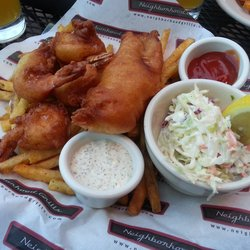 Amazing fish and chips on the patio!