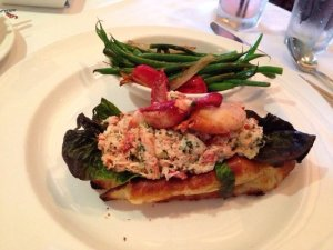 Lobster roll with sauteed green beans at the Capitol Grille on a Tuesday