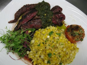 Brown Sugar and Garlic Flank Steak with Mexican Corn and Chimichurri!