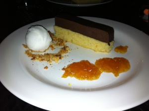 My bitter orange cake with chocolate mousse and crushed honeycomb!
