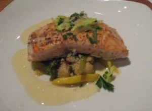 Second:  Slow-Roasted King Salmon with Sweet Corn Puree, Toasted Local Tomatoes & Fennel Confit