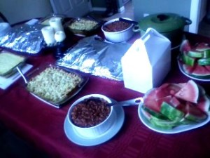 """The only picture I took all night.  The """"before"""" of the dinner spread.  I should have really taken more pics, especially of the outdoor setup."""