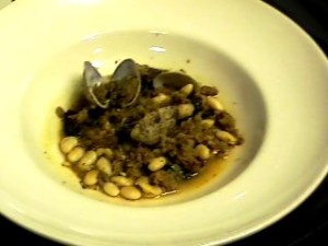 Clams and Linguiça Sausage with White Beans and Kale
