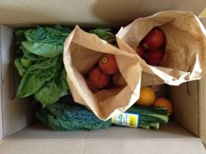 Box of fresh veggies and fruits.