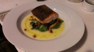 Special seared steelhead with brussel sprouts, brandade potatoes, and lemon cream sauce.