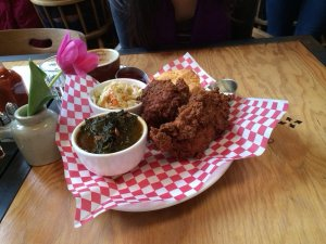 All this just for me:  three pieces fried chicken, great collard greens, coleslaw and one giant ass delicious  biscuit with homemade raspberry jam