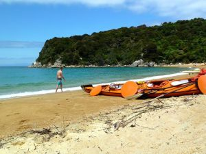 Bryan's first stroll and our trusty kayak.